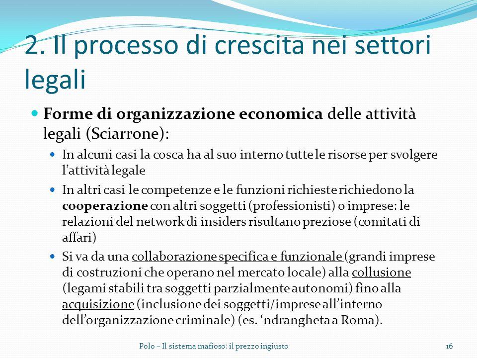 2. Il processo di crescita nei settori legali Forme di organizzazione economica delle attività legali (Sciarrone): In alcuni casi la cosca ha al suo i