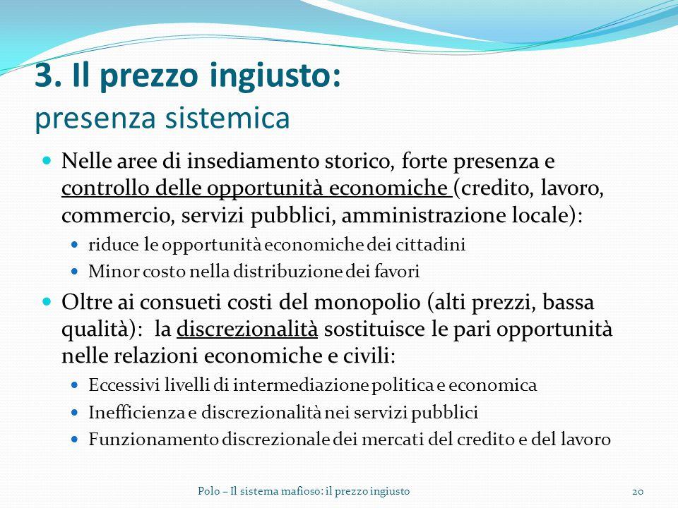 3. Il prezzo ingiusto: presenza sistemica Nelle aree di insediamento storico, forte presenza e controllo delle opportunità economiche (credito, lavoro
