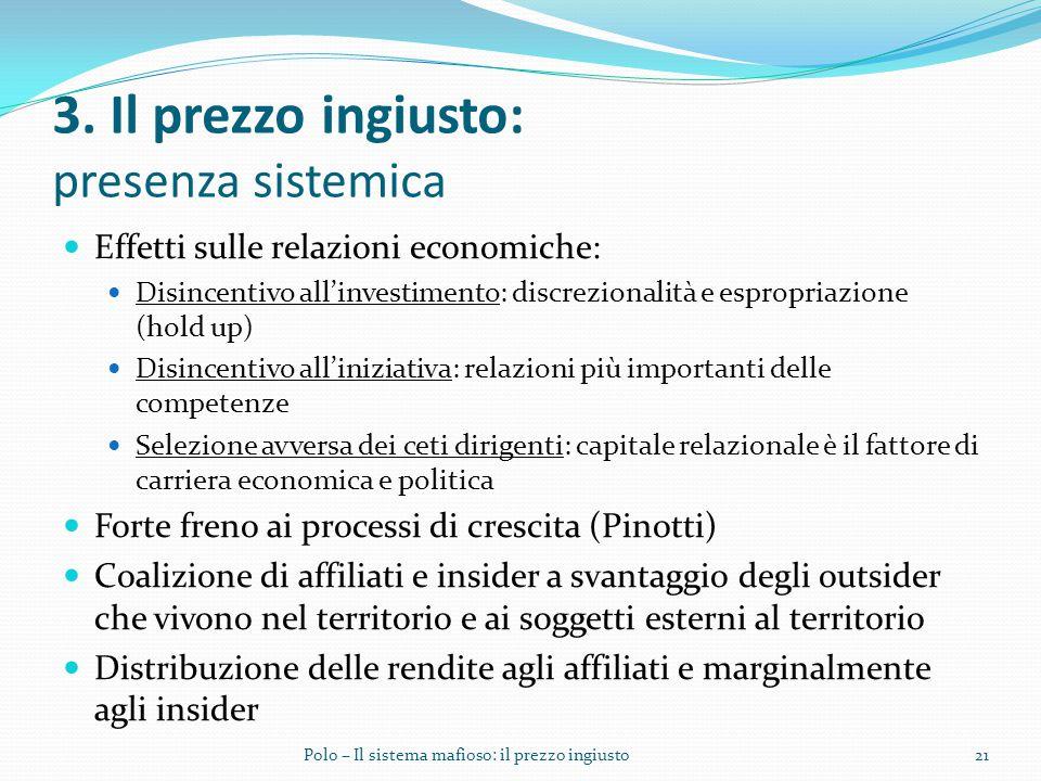 3. Il prezzo ingiusto: presenza sistemica Effetti sulle relazioni economiche: Disincentivo all'investimento: discrezionalità e espropriazione (hold up