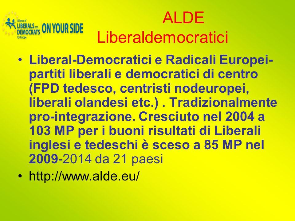 ALDE Liberaldemocratici Liberal-Democratici e Radicali Europei- partiti liberali e democratici di centro (FPD tedesco, centristi nodeuropei, liberali olandesi etc.).