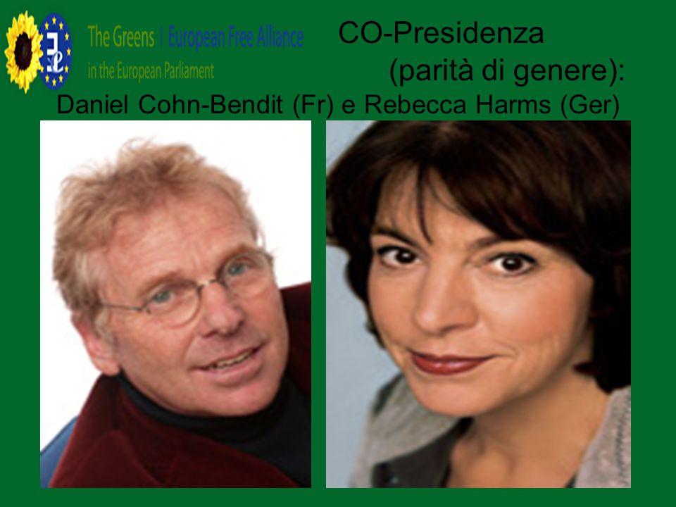 CO-Presidenza (parità di genere): Daniel Cohn-Bendit (Fr) e Rebecca Harms (Ger)