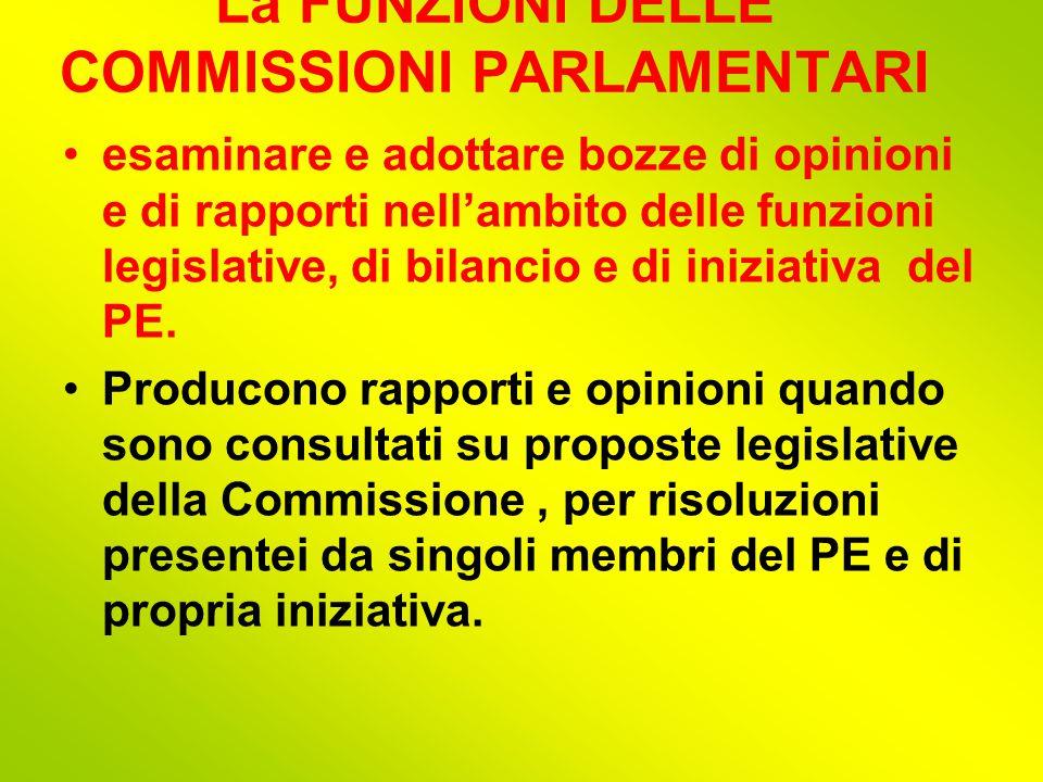 La FUNZIONI DELLE COMMISSIONI PARLAMENTARI esaminare e adottare bozze di opinioni e di rapporti nell'ambito delle funzioni legislative, di bilancio e di iniziativa del PE.