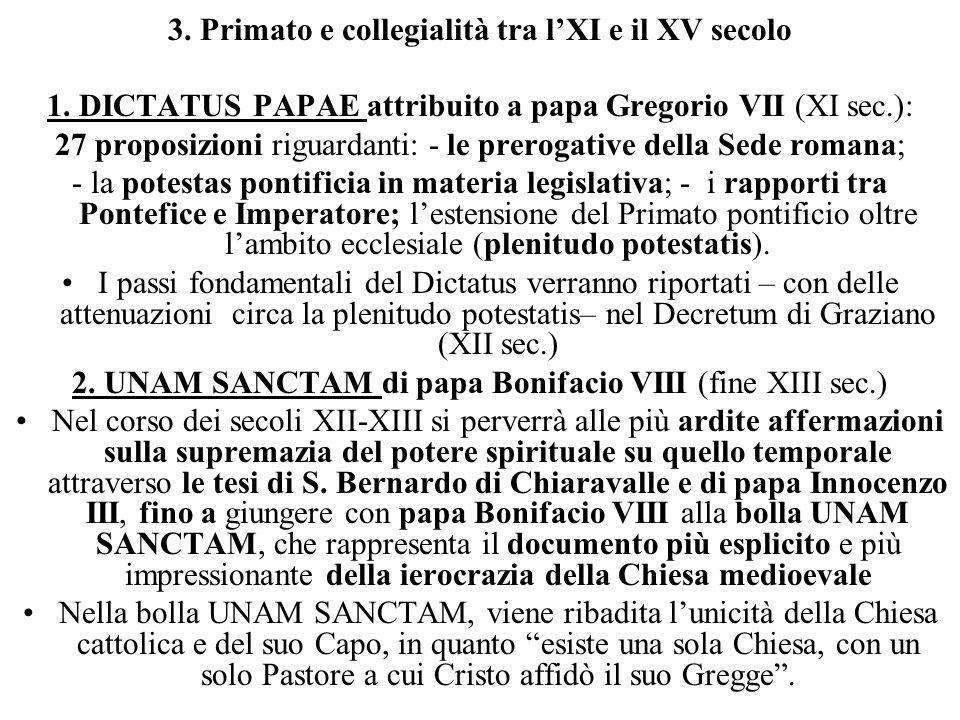 3. Primato e collegialità tra l'XI e il XV secolo 1.