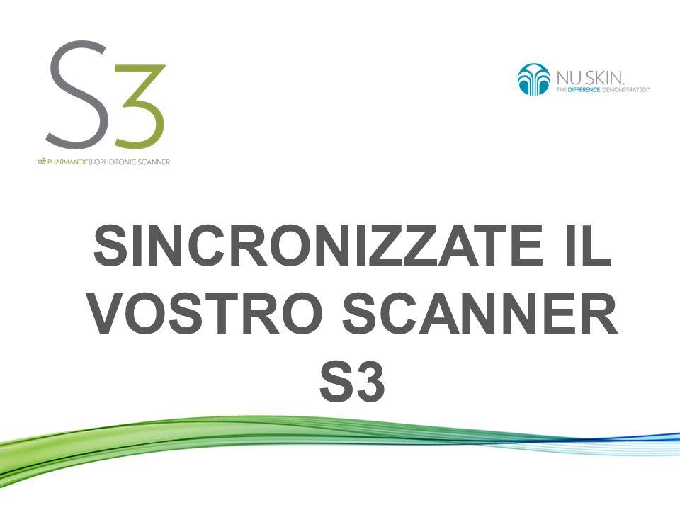 Sincronizzare lo Scanner significa: Inviare i dati delle scansioni effettuate dal vostro Scanner al server Nu Skin in tutto il mondo.