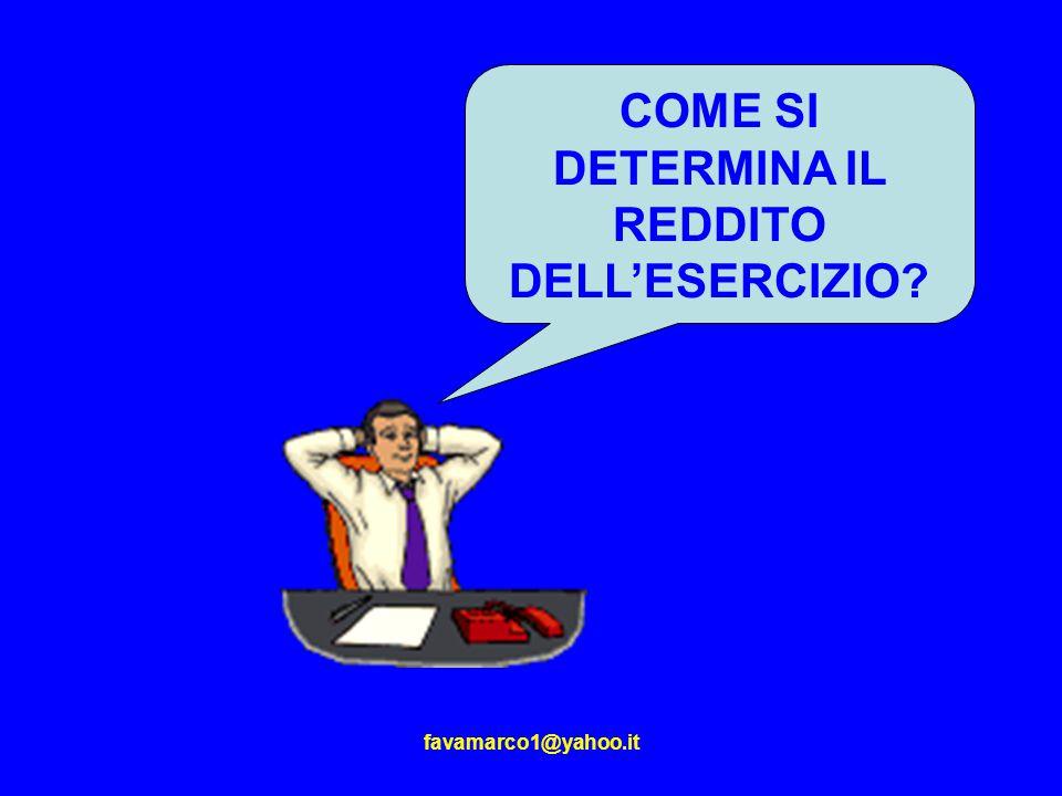 favamarco1@yahoo.it COME SI DETERMINA IL REDDITO DELL'ESERCIZIO?