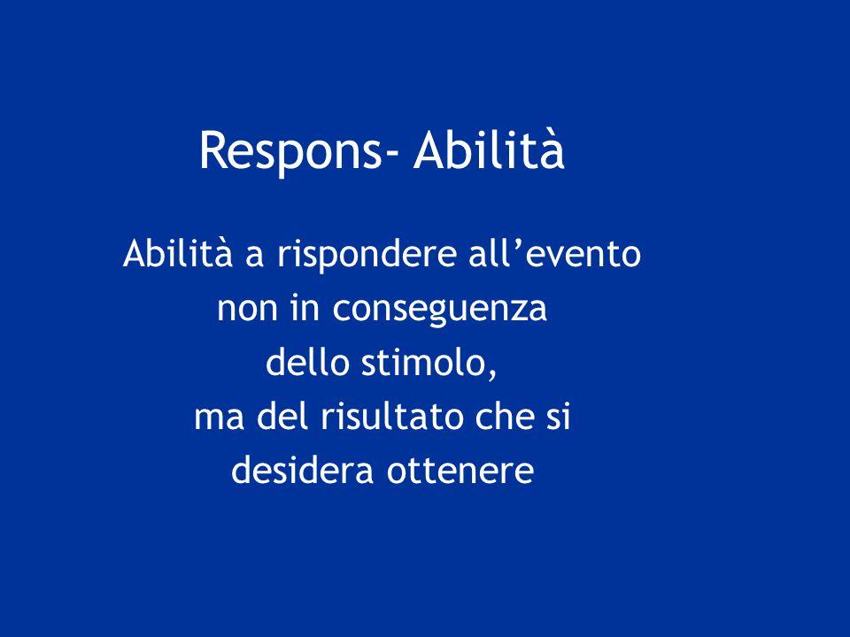 Respons- Abilità Abilità a rispondere all'evento non in conseguenza dello stimolo, ma del risultato che si desidera ottenere