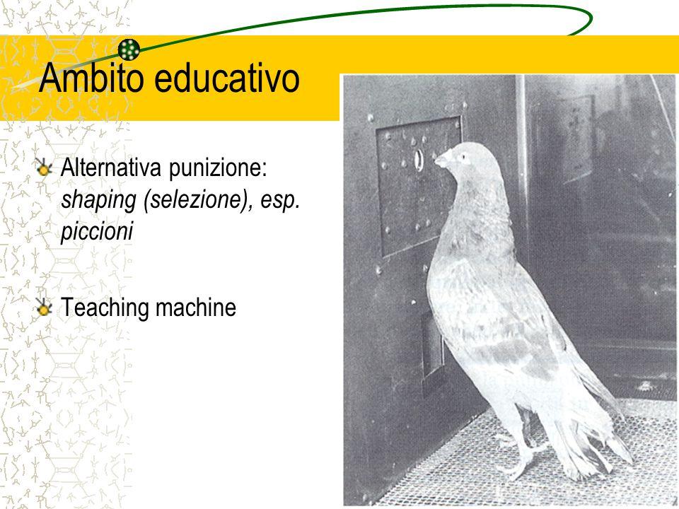 Ambito educativo Alternativa punizione: shaping (selezione), esp. piccioni Teaching machine