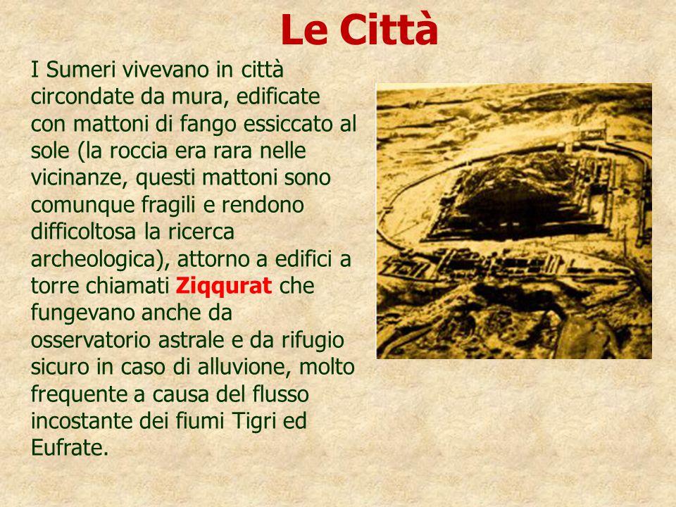 I Sumeri vivevano in città circondate da mura, edificate con mattoni di fango essiccato al sole (la roccia era rara nelle vicinanze, questi mattoni so