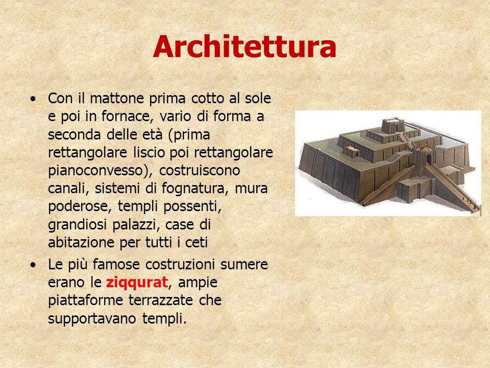 Architettura Con il mattone prima cotto al sole e poi in fornace, vario di forma a seconda delle età (prima rettangolare liscio poi rettangolare piano