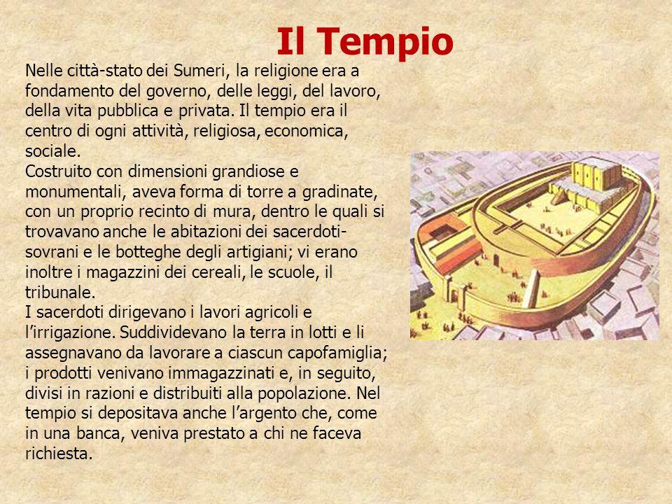 Nelle città-stato dei Sumeri, la religione era a fondamento del governo, delle leggi, del lavoro, della vita pubblica e privata. Il tempio era il cent