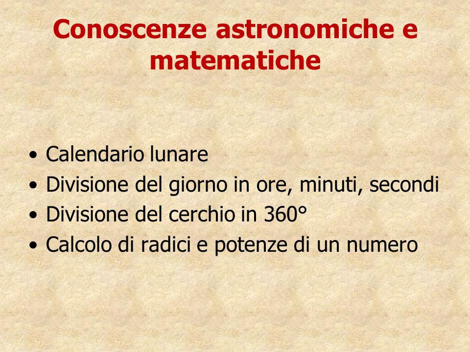 Conoscenze astronomiche e matematiche Calendario lunare Divisione del giorno in ore, minuti, secondi Divisione del cerchio in 360° Calcolo di radici e