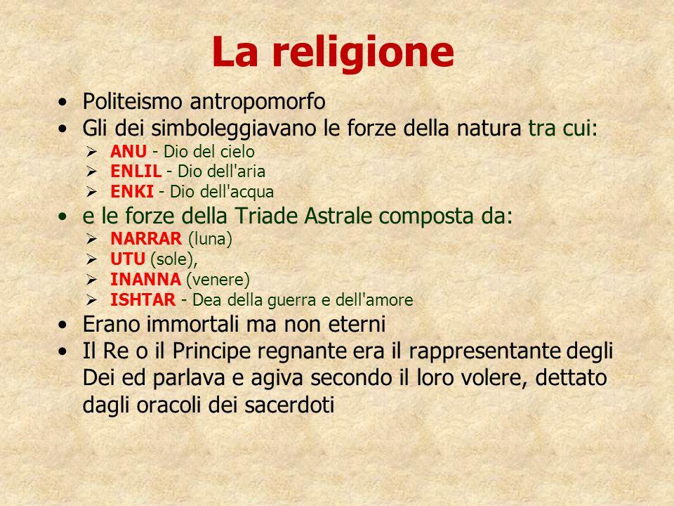 La religione Politeismo antropomorfo Gli dei simboleggiavano le forze della natura tra cui:   ANU - Dio del cielo   ENLIL - Dio dell'aria   ENKI