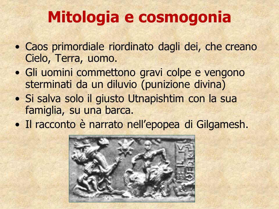 Mitologia e cosmogonia Caos primordiale riordinato dagli dei, che creano Cielo, Terra, uomo. Gli uomini commettono gravi colpe e vengono sterminati da