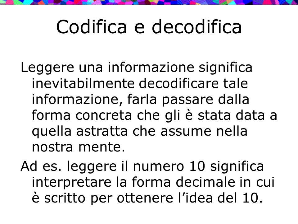 Codifica e decodifica Leggere una informazione significa inevitabilmente decodificare tale informazione, farla passare dalla forma concreta che gli è