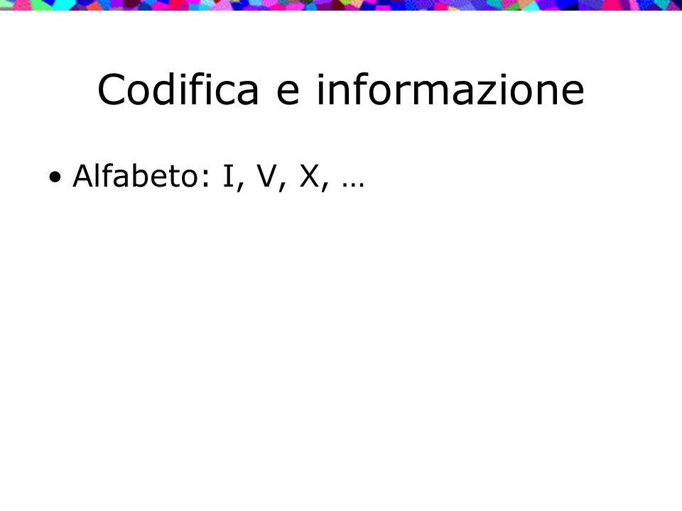Codifica e informazione Alfabeto: I, V, X, …