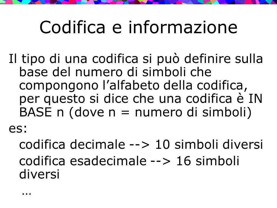 Codifica e informazione Il tipo di una codifica si può definire sulla base del numero di simboli che compongono l'alfabeto della codifica, per questo