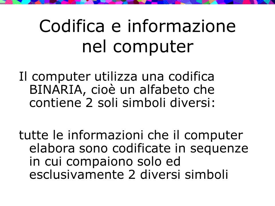 Codifica e informazione nel computer Il computer utilizza una codifica BINARIA, cioè un alfabeto che contiene 2 soli simboli diversi: tutte le informa