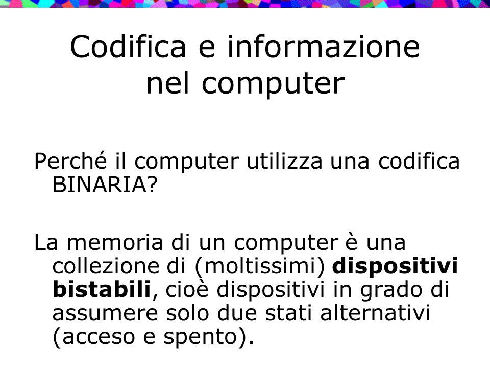 Codifica e informazione nel computer Perché il computer utilizza una codifica BINARIA? La memoria di un computer è una collezione di (moltissimi) disp