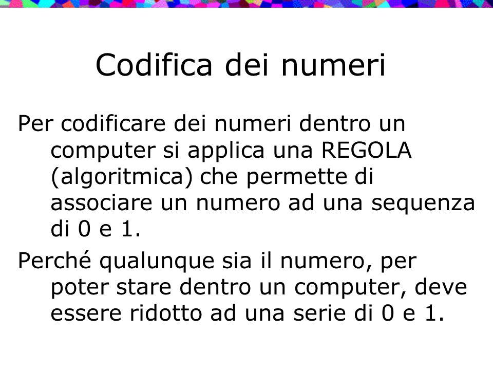 Codifica dei numeri Per codificare dei numeri dentro un computer si applica una REGOLA (algoritmica) che permette di associare un numero ad una sequen