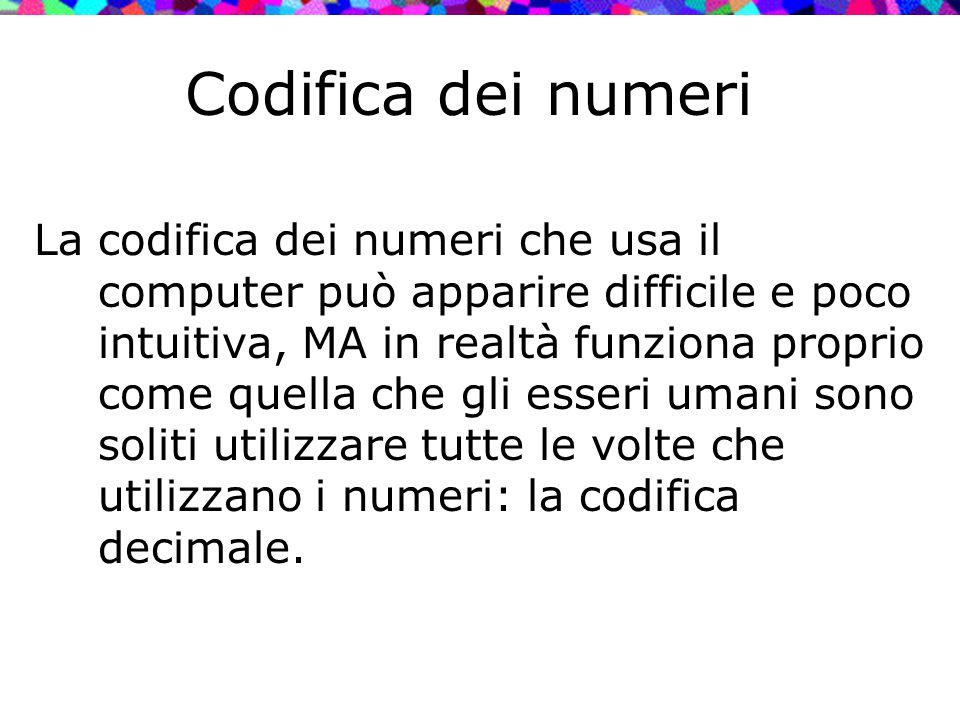Codifica dei numeri La codifica dei numeri che usa il computer può apparire difficile e poco intuitiva, MA in realtà funziona proprio come quella che