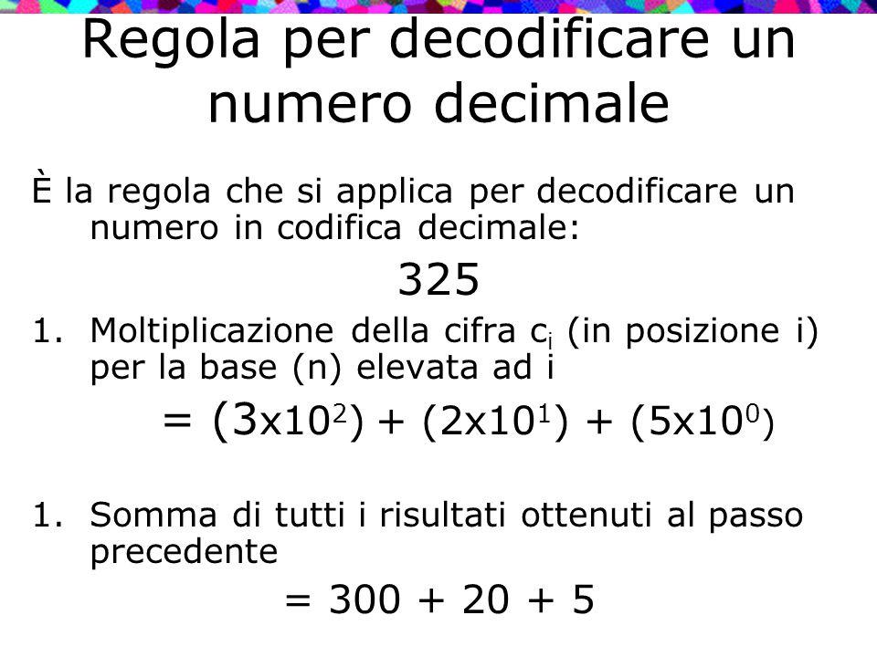 Regola per decodificare un numero decimale È la regola che si applica per decodificare un numero in codifica decimale: 325 1.Moltiplicazione della cif
