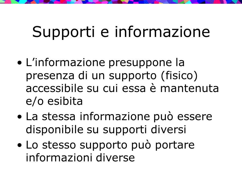Supporti e informazione L'informazione presuppone la presenza di un supporto (fisico) accessibile su cui essa è mantenuta e/o esibita La stessa inform