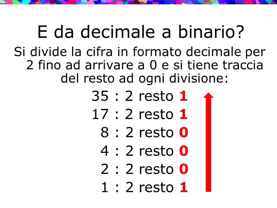E da decimale a binario? Si divide la cifra in formato decimale per 2 fino ad arrivare a 0 e si tiene traccia del resto ad ogni divisione: 35 : 2 rest