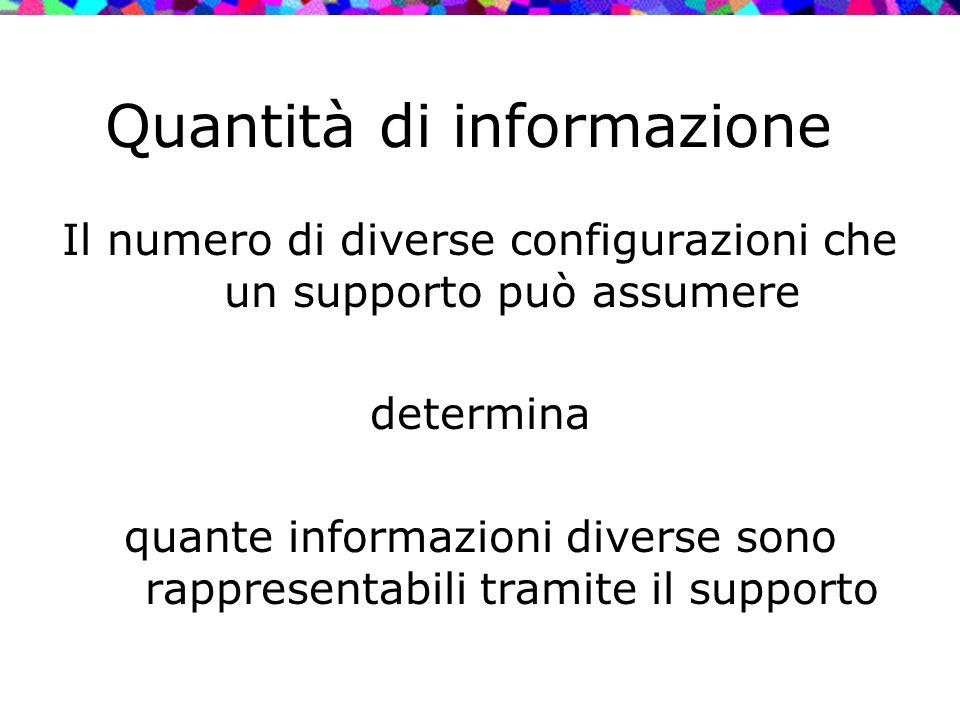 Quantità di informazione Il numero di diverse configurazioni che un supporto può assumere determina quante informazioni diverse sono rappresentabili t