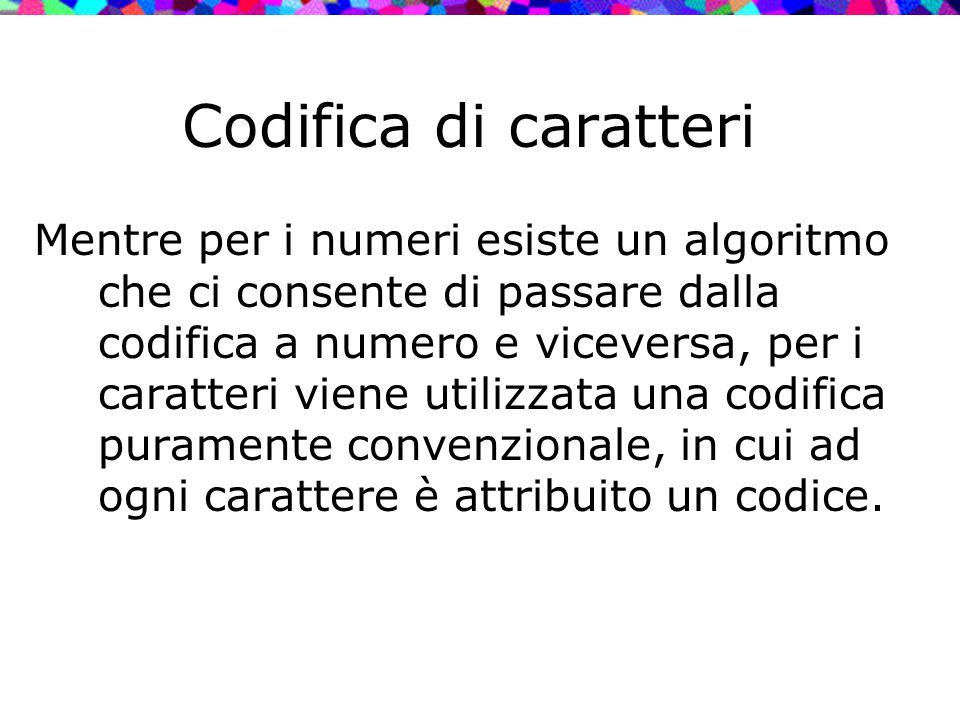 Codifica di caratteri Mentre per i numeri esiste un algoritmo che ci consente di passare dalla codifica a numero e viceversa, per i caratteri viene ut