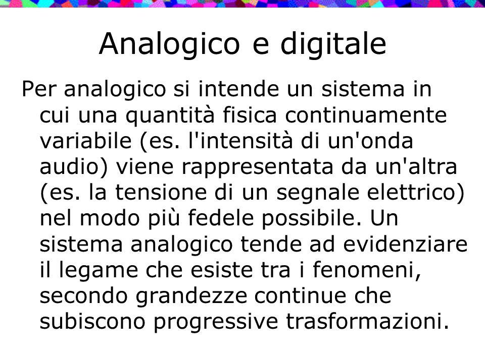 Analogico e digitale Per analogico si intende un sistema in cui una quantità fisica continuamente variabile (es. l'intensità di un'onda audio) viene r