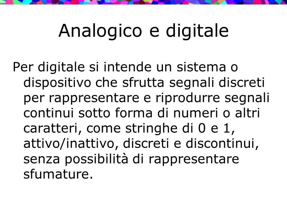 Analogico e digitale Per digitale si intende un sistema o dispositivo che sfrutta segnali discreti per rappresentare e riprodurre segnali continui sot