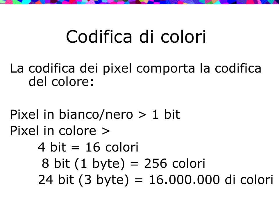 Codifica di colori La codifica dei pixel comporta la codifica del colore: Pixel in bianco/nero > 1 bit Pixel in colore > 4 bit = 16 colori 8 bit (1 by