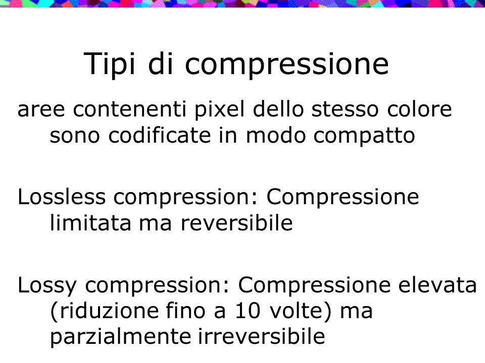 Tipi di compressione aree contenenti pixel dello stesso colore sono codificate in modo compatto Lossless compression: Compressione limitata ma reversi