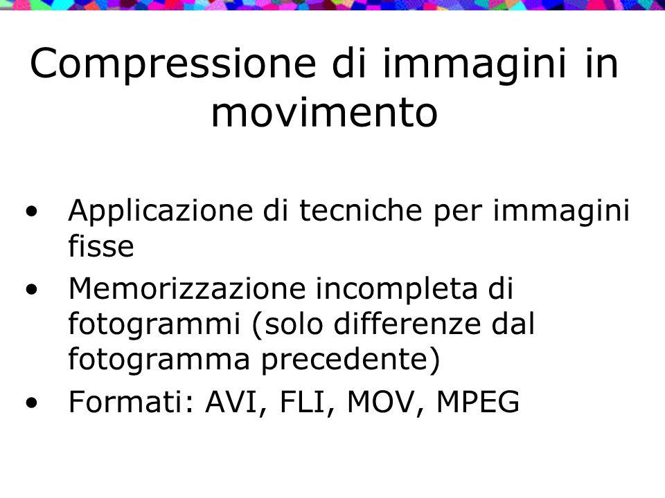 Compressione di immagini in movimento Applicazione di tecniche per immagini fisse Memorizzazione incompleta di fotogrammi (solo differenze dal fotogra