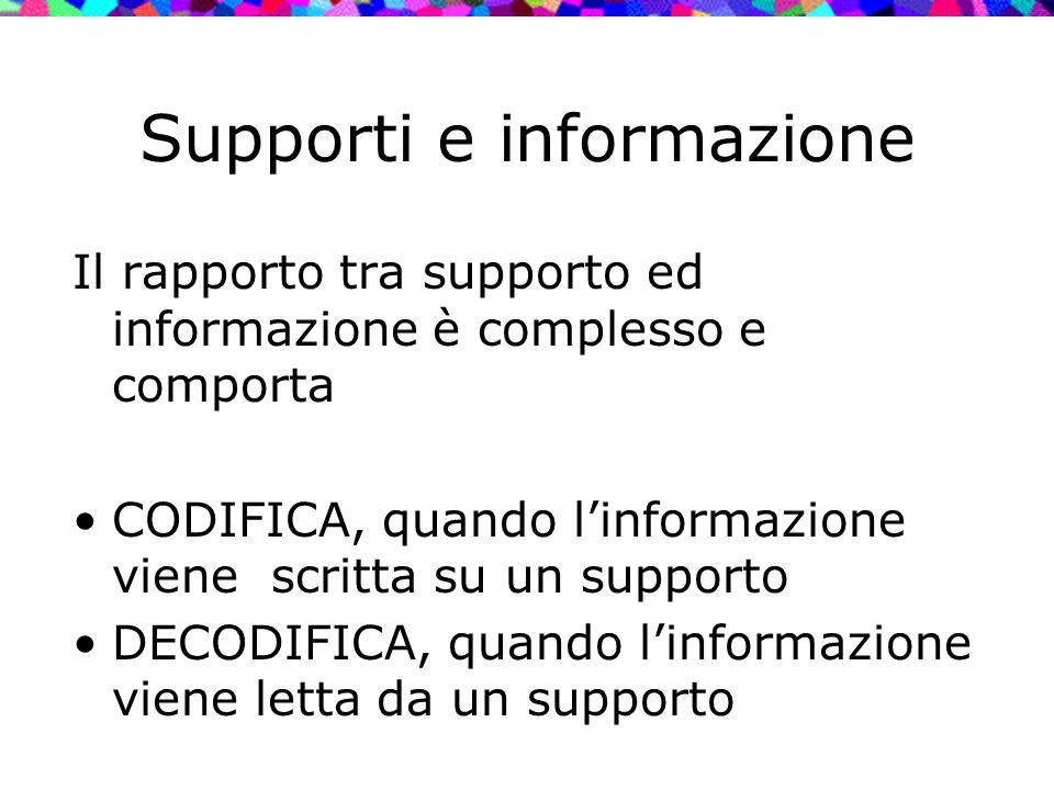 Supporti e informazione Il rapporto tra supporto ed informazione è complesso e comporta CODIFICA, quando l'informazione viene scritta su un supporto D