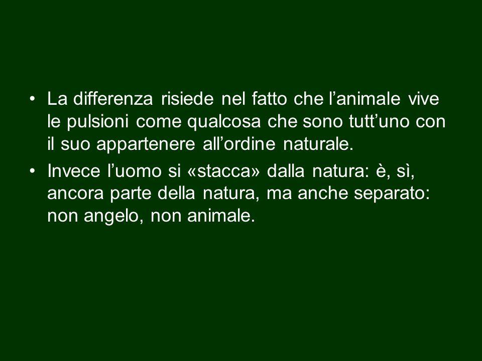 La differenza risiede nel fatto che l'animale vive le pulsioni come qualcosa che sono tutt'uno con il suo appartenere all'ordine naturale. Invece l'uo
