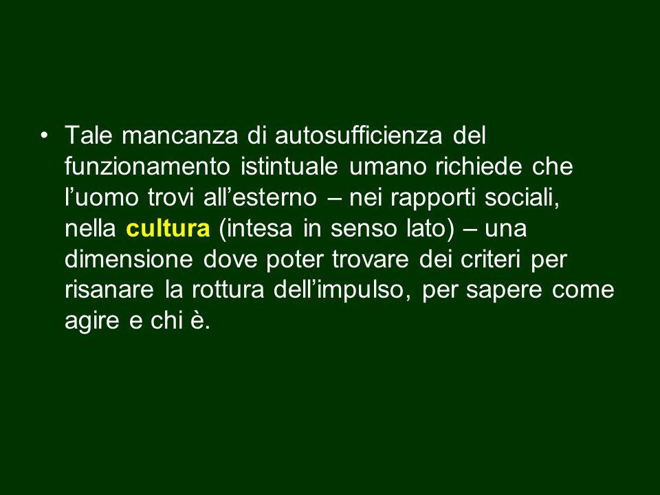 Tale mancanza di autosufficienza del funzionamento istintuale umano richiede che l'uomo trovi all'esterno – nei rapporti sociali, nella cultura (intes