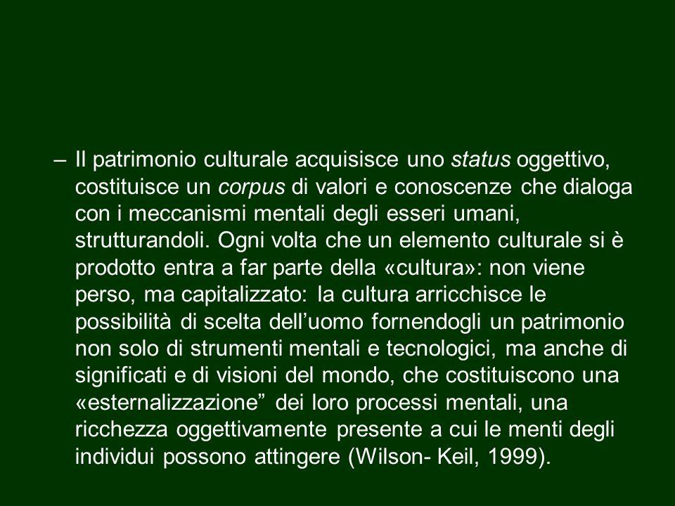 –Il patrimonio culturale acquisisce uno status oggettivo, costituisce un corpus di valori e conoscenze che dialoga con i meccanismi mentali degli esse