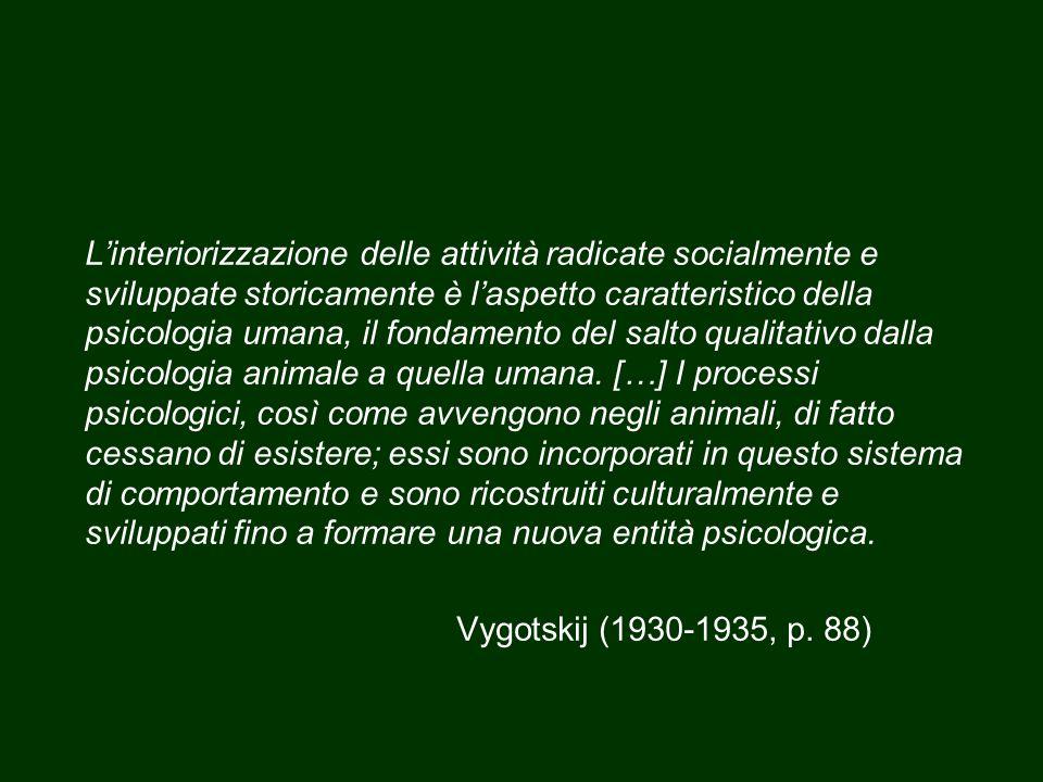 L'interiorizzazione delle attività radicate socialmente e sviluppate storicamente è l'aspetto caratteristico della psicologia umana, il fondamento del