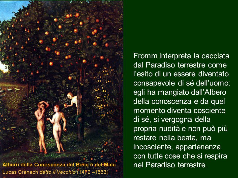 Albero della Conoscenza del Bene e del Male Lucas Cranach detto il Vecchio (1472 –1553) Fromm interpreta la cacciata dal Paradiso terrestre come l'esi