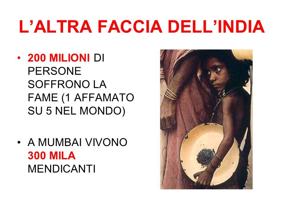 L'ALTRA FACCIA DELL'INDIA 200 MILIONI DI PERSONE SOFFRONO LA FAME (1 AFFAMATO SU 5 NEL MONDO) A MUMBAI VIVONO 300 MILA MENDICANTI
