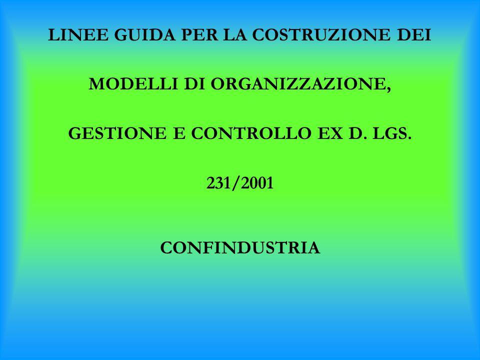 LINEE GUIDA PER LA COSTRUZIONE DEI MODELLI DI ORGANIZZAZIONE, GESTIONE E CONTROLLO EX D. LGS. 231/2001 CONFINDUSTRIA
