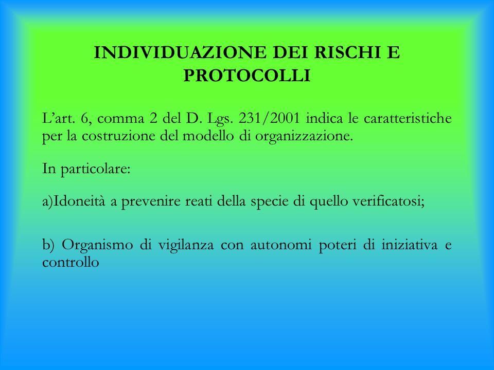 INDIVIDUAZIONE DEI RISCHI E PROTOCOLLI L'art. 6, comma 2 del D. Lgs. 231/2001 indica le caratteristiche per la costruzione del modello di organizzazio