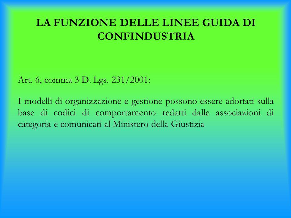 LA FUNZIONE DELLE LINEE GUIDA DI CONFINDUSTRIA Art. 6, comma 3 D. Lgs. 231/2001: I modelli di organizzazione e gestione possono essere adottati sulla
