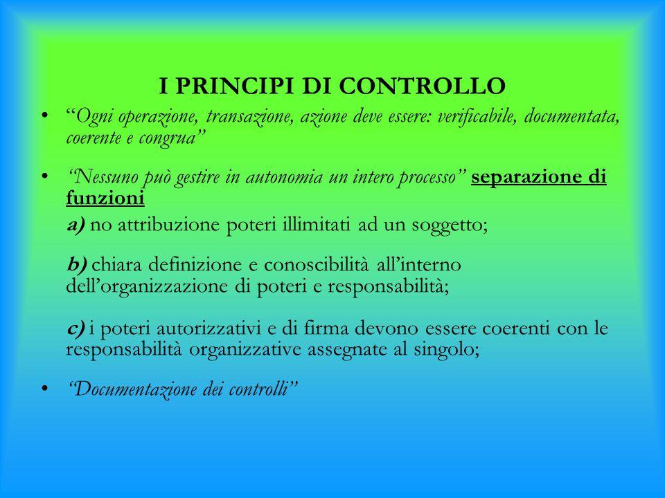 """I PRINCIPI DI CONTROLLO """"Ogni operazione, transazione, azione deve essere: verificabile, documentata, coerente e congrua"""" """"Nessuno può gestire in auto"""