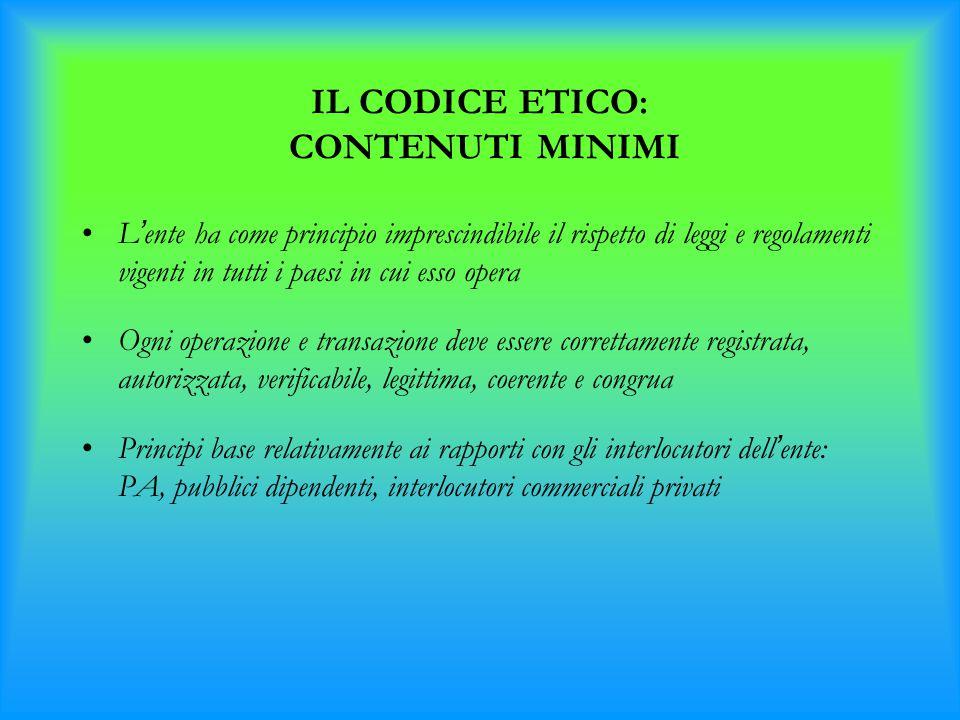 IL CODICE ETICO: CONTENUTI MINIMI L ' ente ha come principio imprescindibile il rispetto di leggi e regolamenti vigenti in tutti i paesi in cui esso o