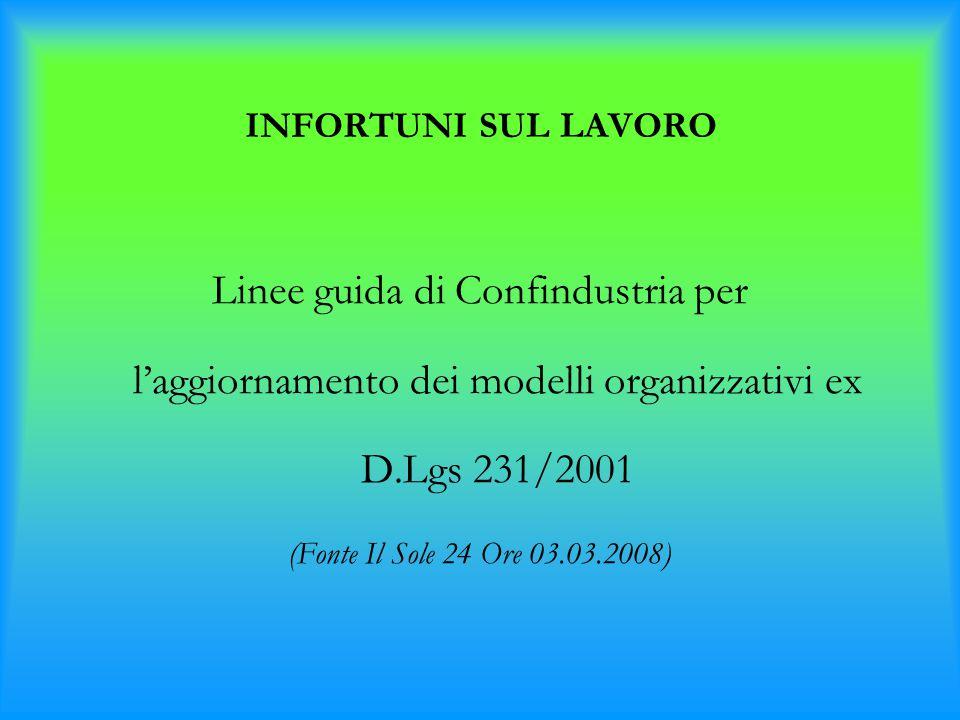 INFORTUNI SUL LAVORO Linee guida di Confindustria per l'aggiornamento dei modelli organizzativi ex D.Lgs 231/2001 (Fonte Il Sole 24 Ore 03.03.2008)