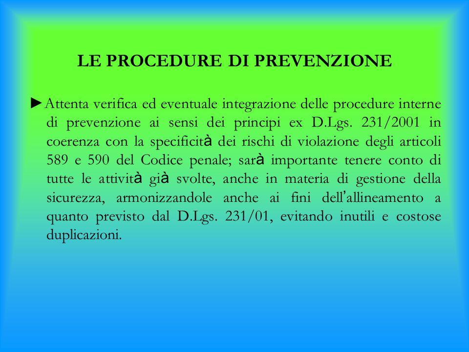 LE PROCEDURE DI PREVENZIONE ►Attenta verifica ed eventuale integrazione delle procedure interne di prevenzione ai sensi dei principi ex D.Lgs. 231/200