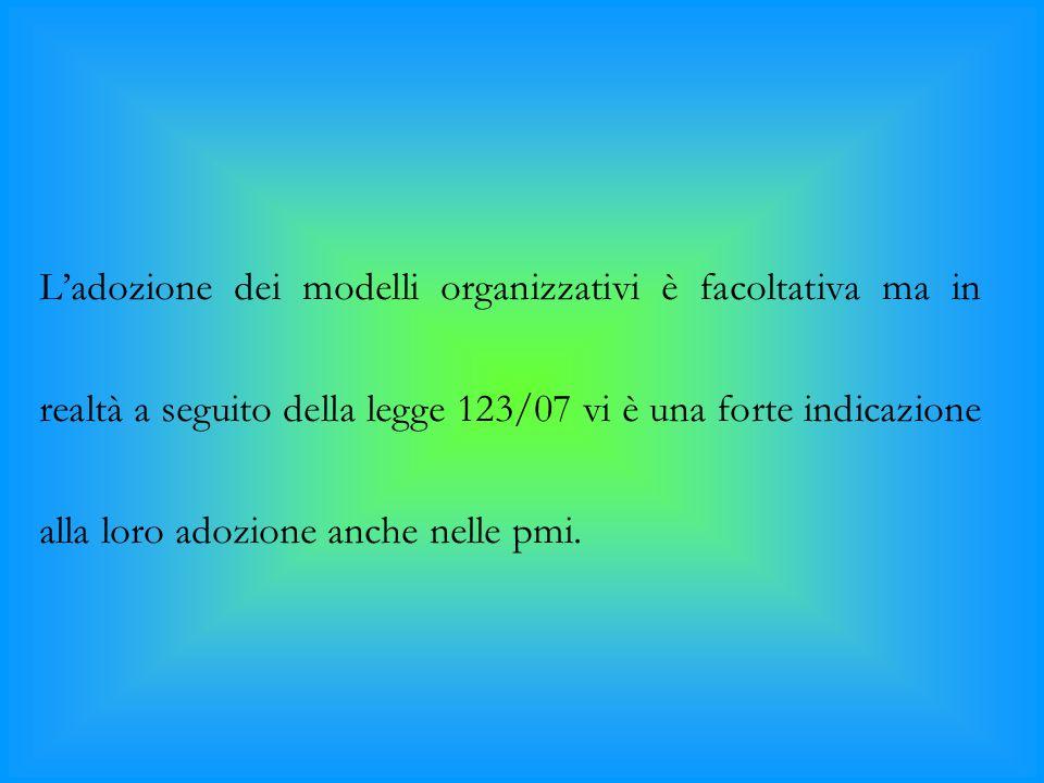 L'adozione dei modelli organizzativi è facoltativa ma in realtà a seguito della legge 123/07 vi è una forte indicazione alla loro adozione anche nelle