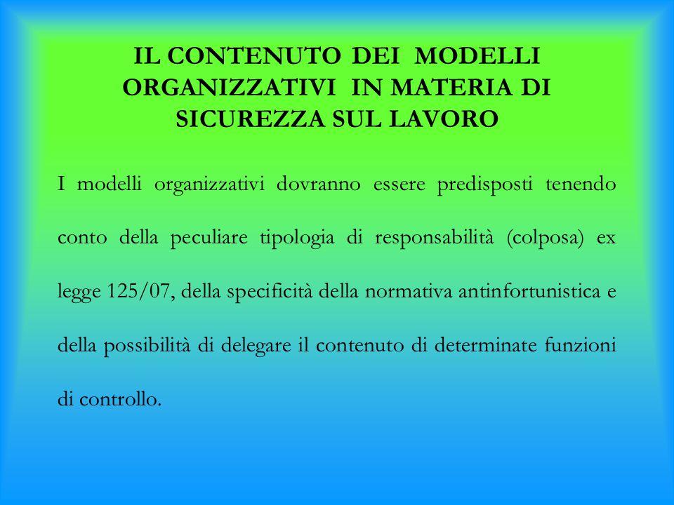 IL CONTENUTO DEI MODELLI ORGANIZZATIVI IN MATERIA DI SICUREZZA SUL LAVORO I modelli organizzativi dovranno essere predisposti tenendo conto della pecu